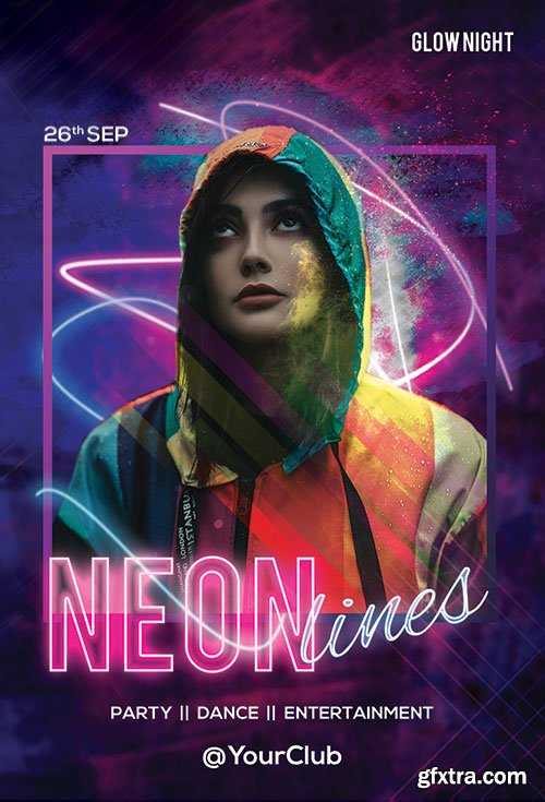 Neon Lines psd flyer template