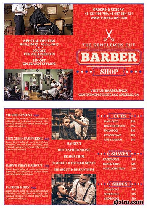 Barber shop bifold flyer psd template