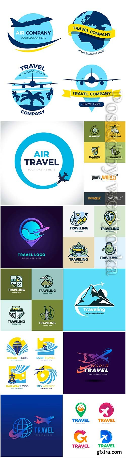 Travel and vacation logos in vector