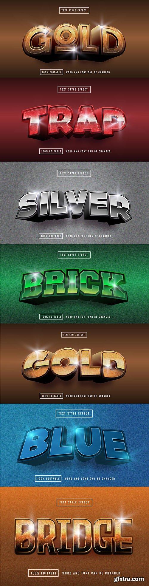 Editable font effect text collection illustration design 208