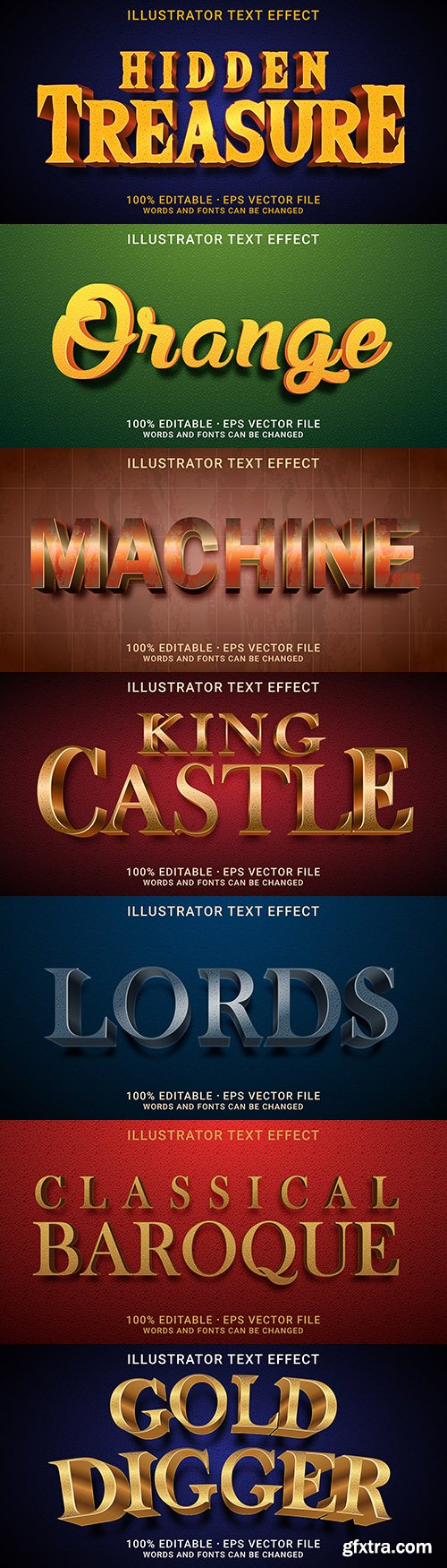 Editable font effect text collection illustration design 207