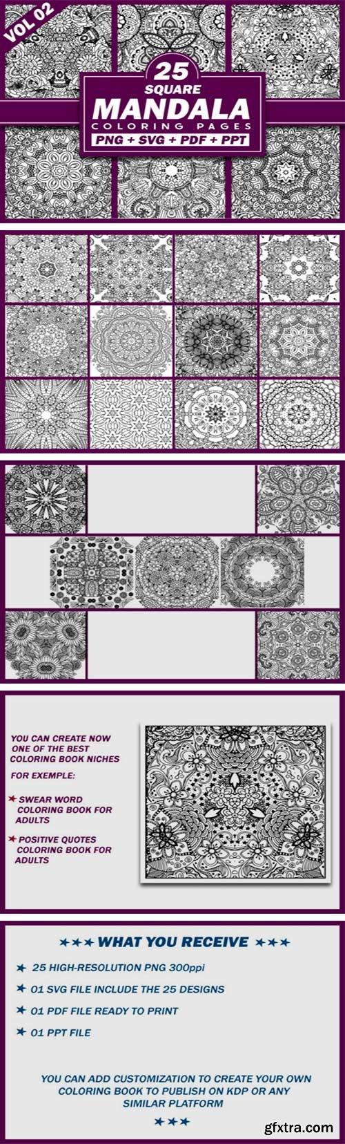 25 Square Mandala Coloring Pages | KDP 5576317