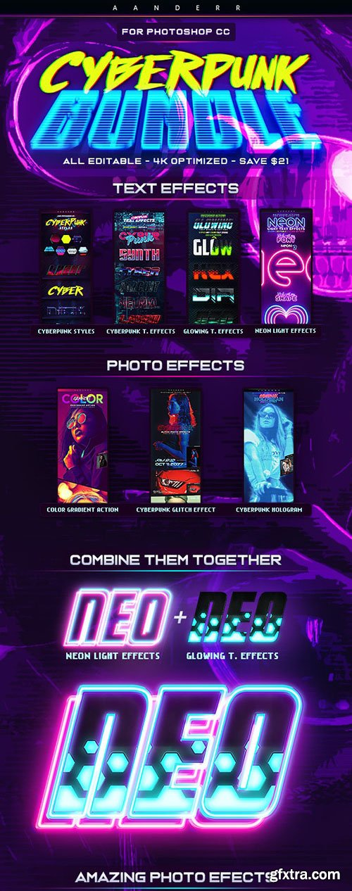 GraphicRiver - Cyberpunk Photoshop Effects Bundle 28590685