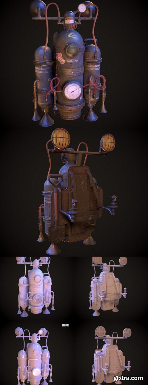 Steampunk Military Jetpack