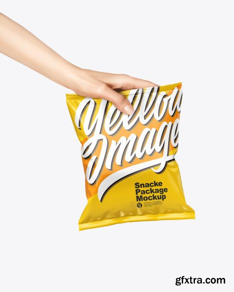 Glossy Snack Package in a Hand Mockup 67578
