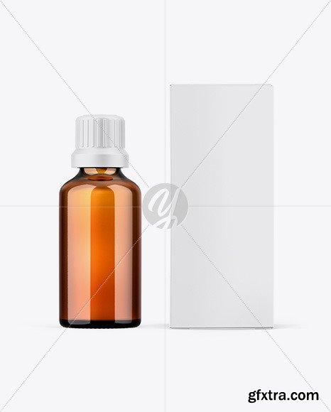 Paper Box W/ Amber Bottle Mockup 67501