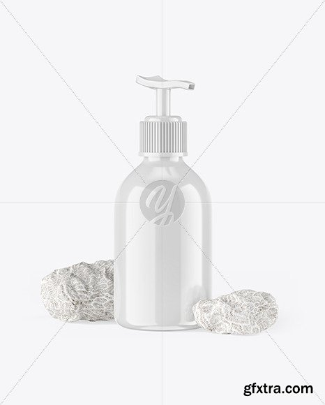 Cosmetic Bottle with Pump & Coral Sponges Mockup 67354