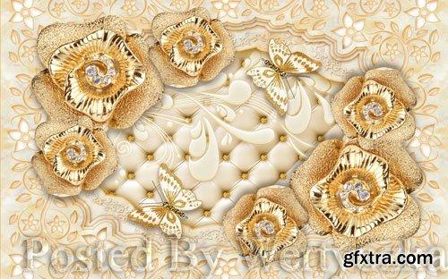3D psd models european society jewelry flower soft bag wall