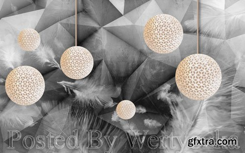 3D psd models modern fashion doodle feather three dimensional ball gray background wall