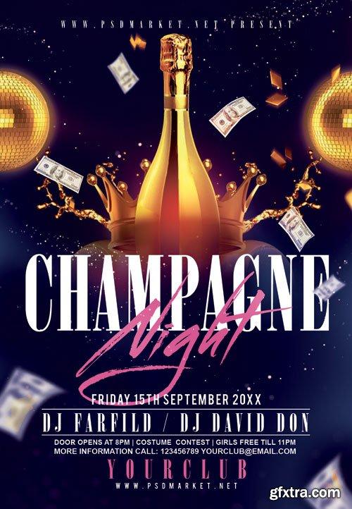Champagne night - Premium flyer psd template