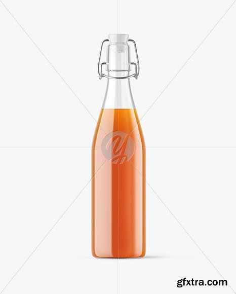 Clear Glass Juice Bottle with Clamp Lid Mockup 67596