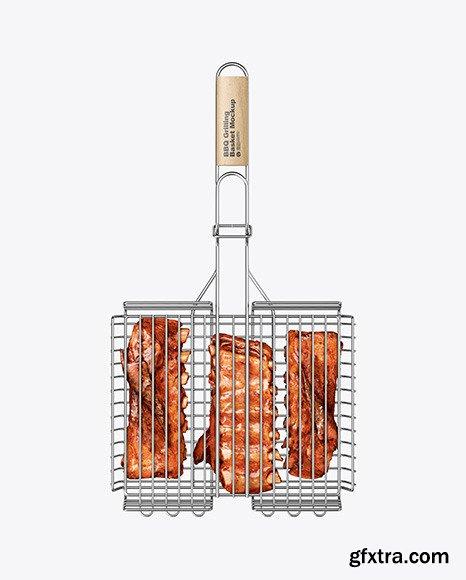 Portable Grilling Basket w/ Meat Mockup 67608