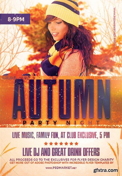 Autumn party night - Premium flyer psd template