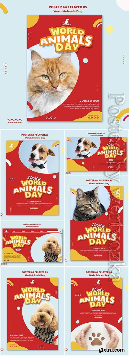 World animals day template flyer psd