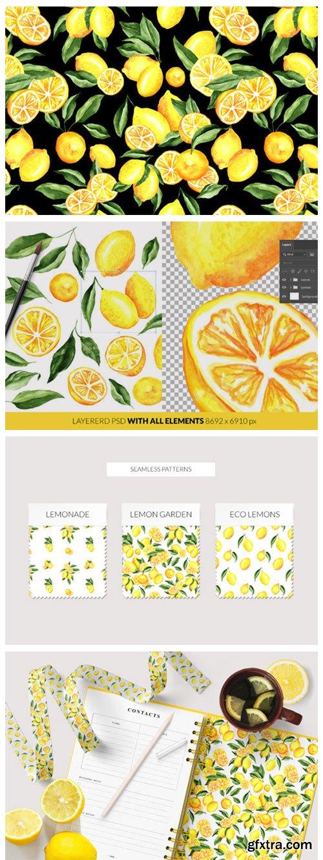 Lemon Watercolor Clipart & Patterns 5729711