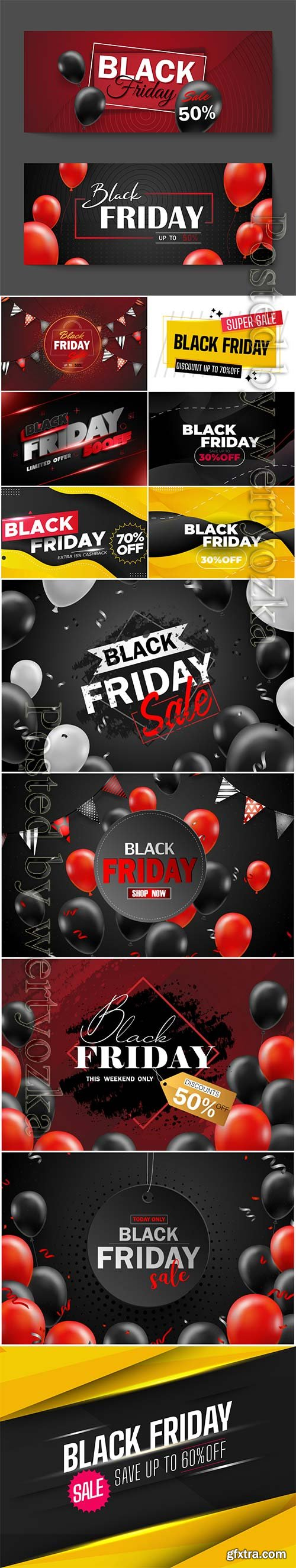 Black friday sale poster with black balloons, friday promotion