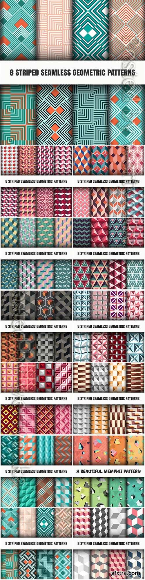 Set of striped seamless geometric patterns