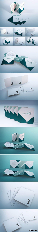 Trifold leaflet mockup business brochure design template