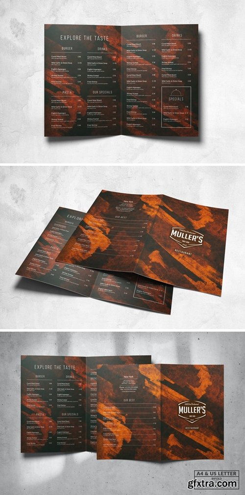 Grunge Food Menu Design A4 & US Letter