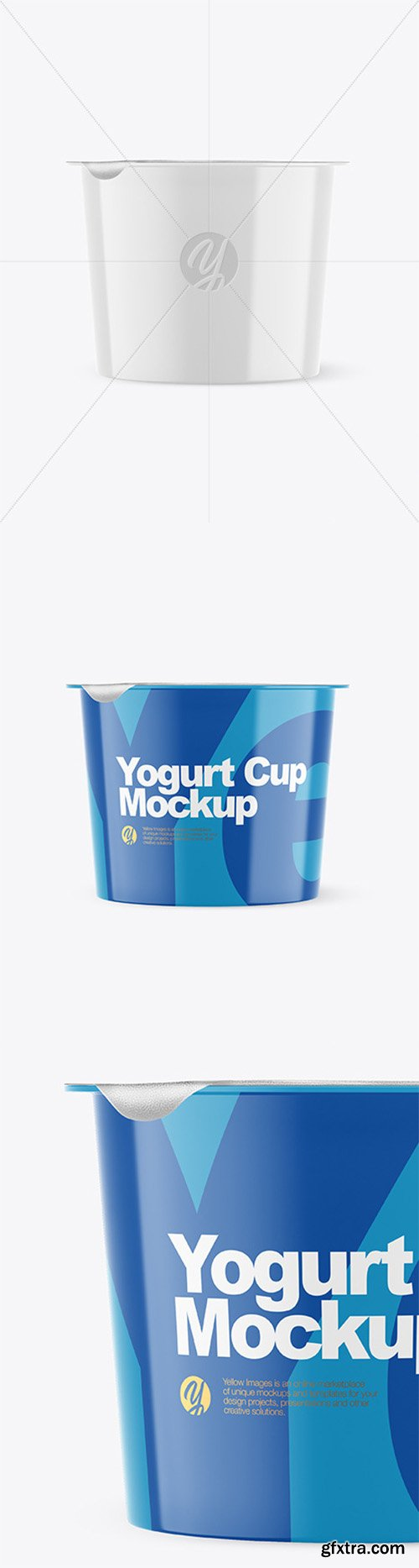 Glossy Plastic Yogurt Cup With Foil Lid Mockup - Front View 66253