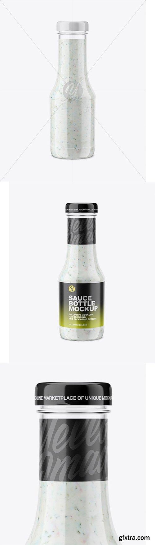 Clear Glass Sauce Bottle Mockup 66048