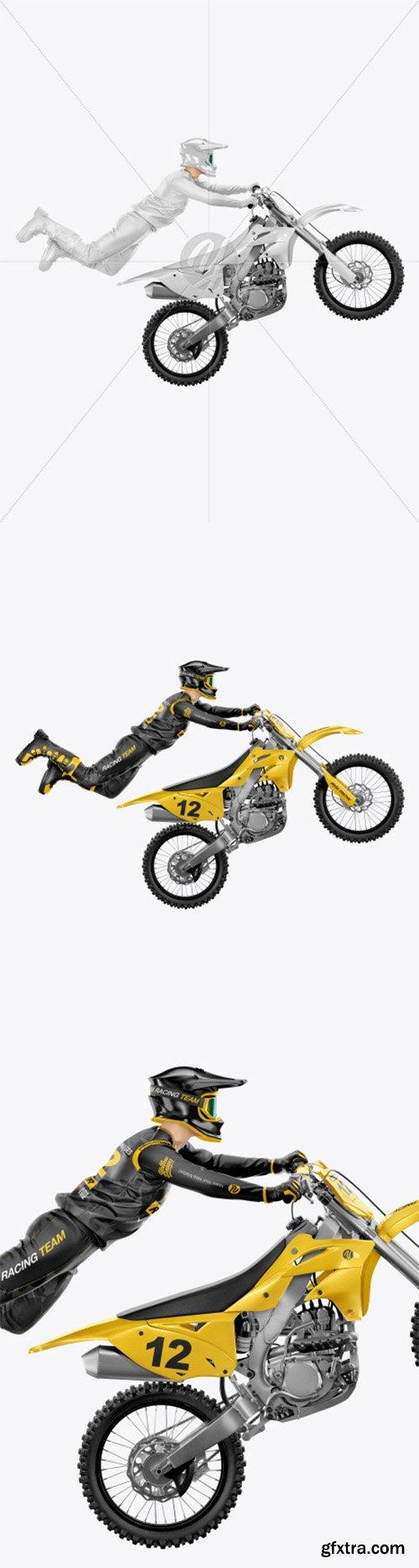 Flying Motocross Racer w/ Bike Mockup 66147
