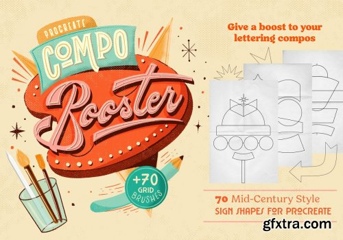 CreativeMarket - CompoBooster Procreate Retro Brushes 5264611