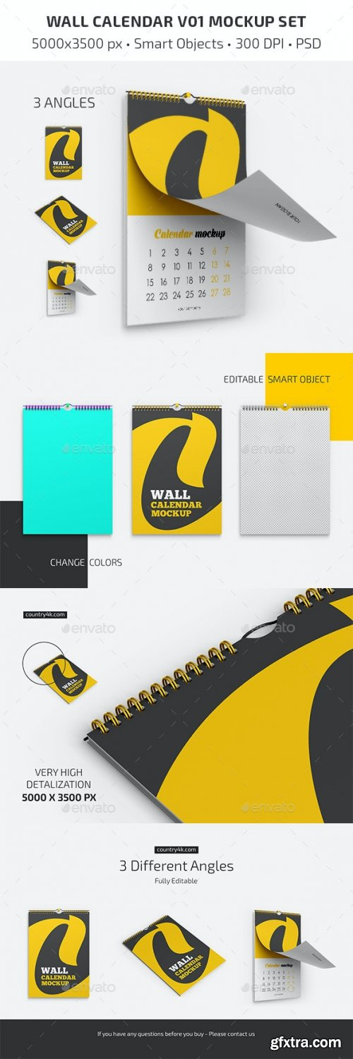 GraphicRiver - Wall Calendar v01 Mockup Set 28418685