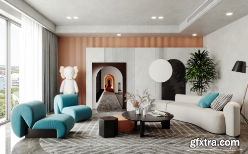 Interior Livingroom Scene Sketchup by ChungLee