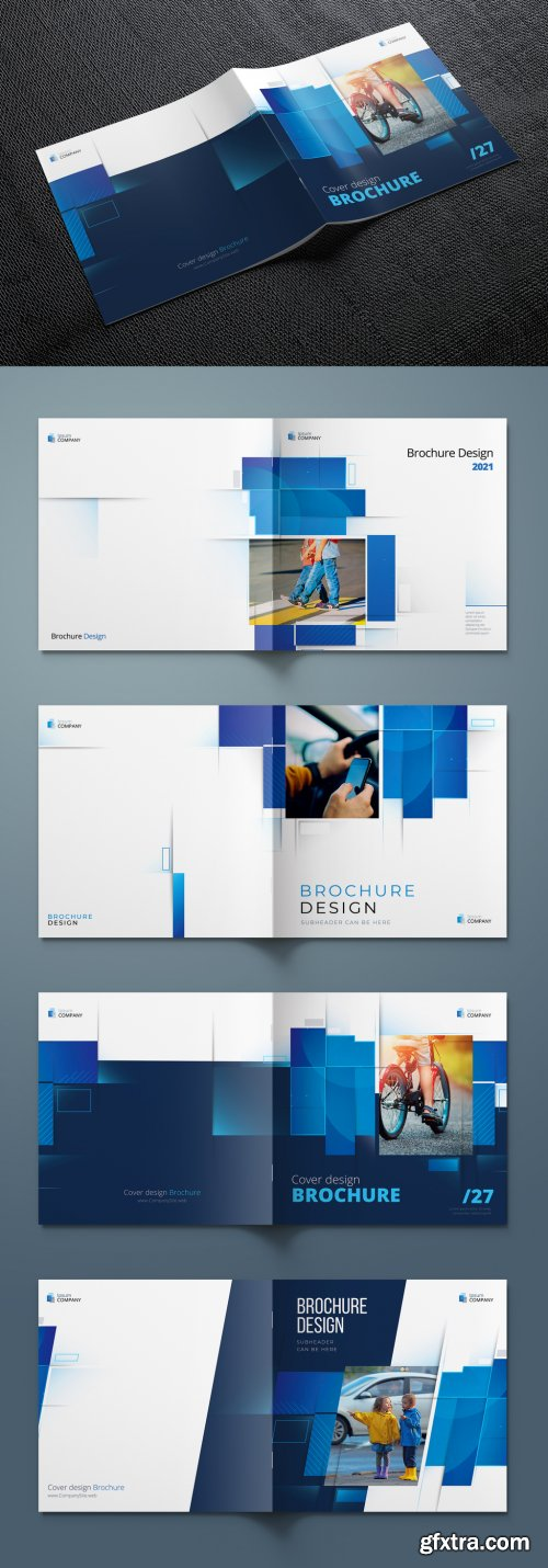 Square Report Cover Layout Set with Blue Dynamic Elements 374945247