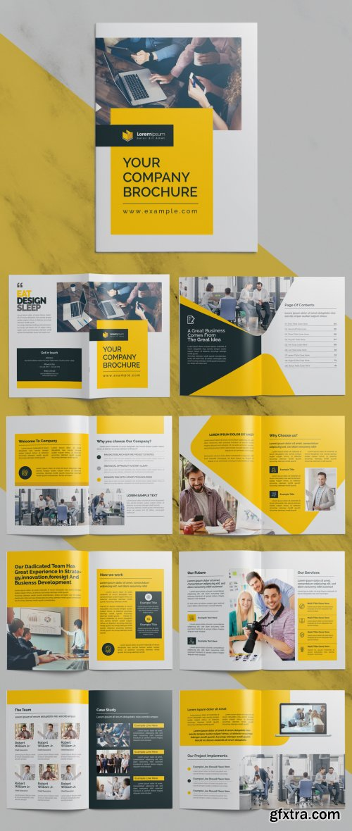Clean Corporate Brochure and with Yellow and Dark Accents 372723744