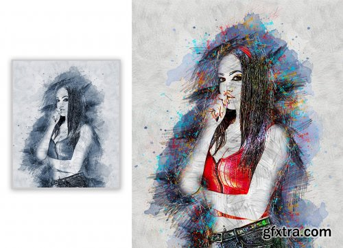 CreativeMarket - Line Sketch Photoshop Action 5360753