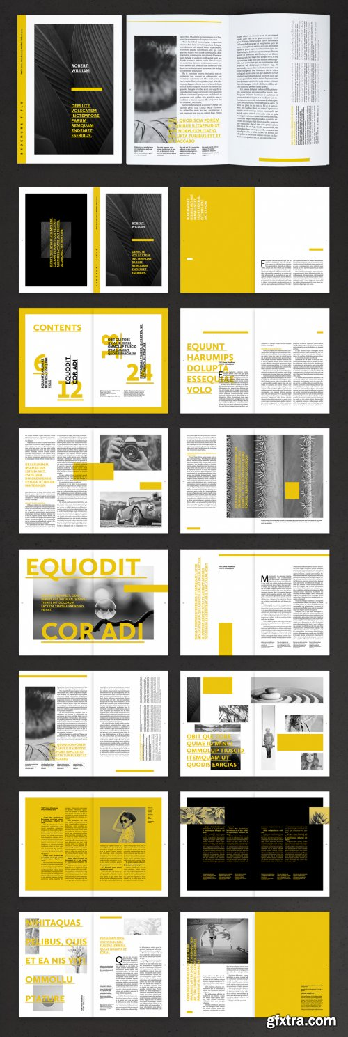 Editorial Brochure Layout with Yellow Accents 376981324