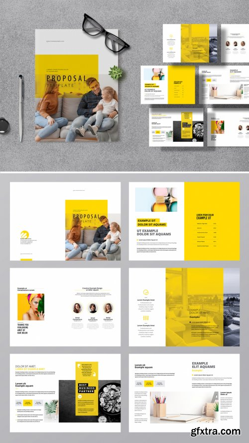 Creative Business Proposal Layout with Yellow Accent 376953089