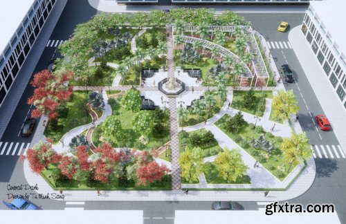 Exterior Central Park Scene Sketchup By TuMinhSang
