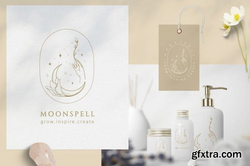 Premade Moon Brand Logo and Packaging Design