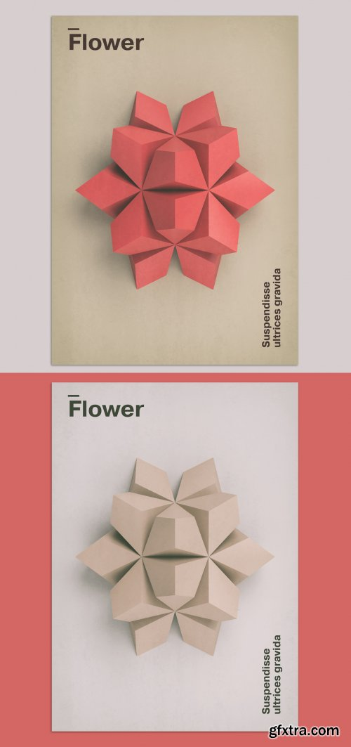 Geometric 3D Flower Art Poster Layout 375927533
