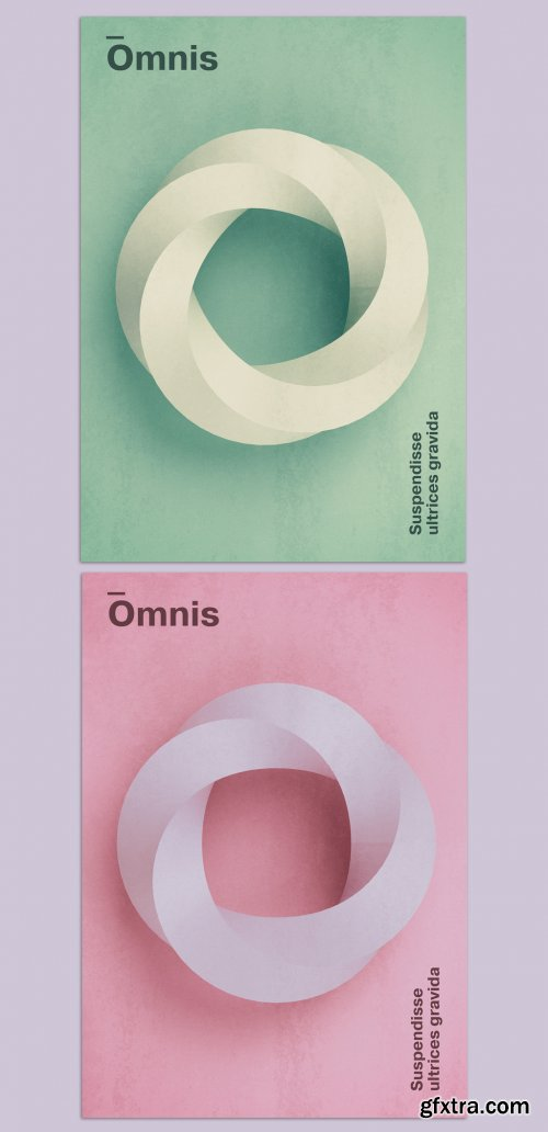 Modern Poster Layout with 3D Abstract Ring Shape 374192436