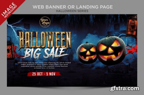 Halloween web banner and menu