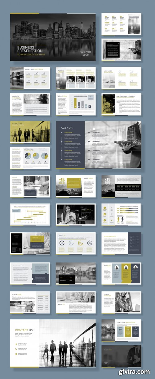 Business Presentation Layout with Green and Silver Accents 375666005