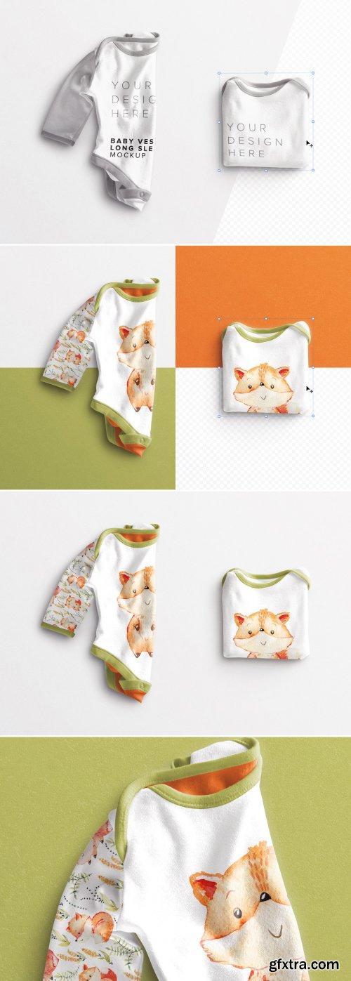 Baby Vest Long Sleeves Folded Mockup 381436448