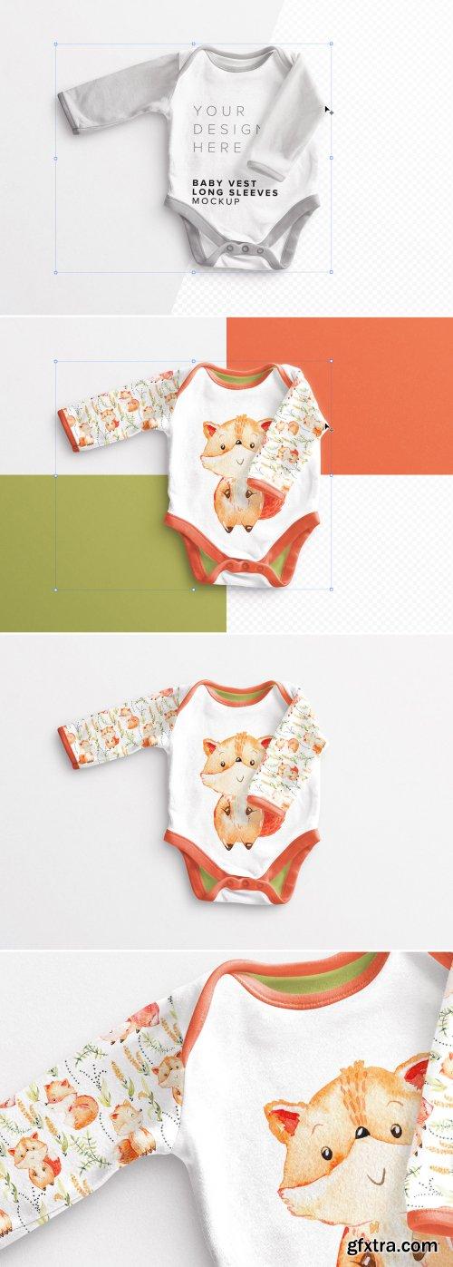 Baby Vest Long Sleeves 2 Mockup 381435729