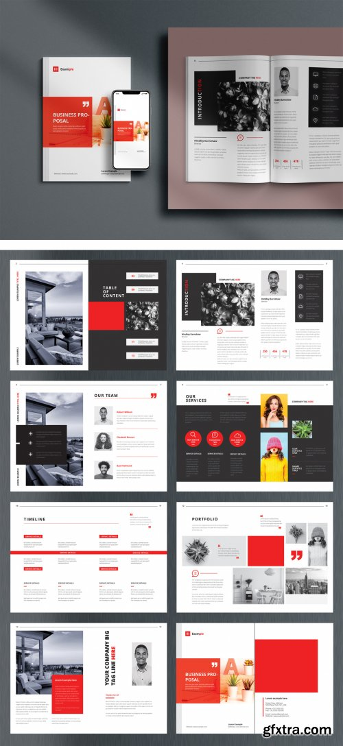 Business Proposal Layout with Red Accents 379662143