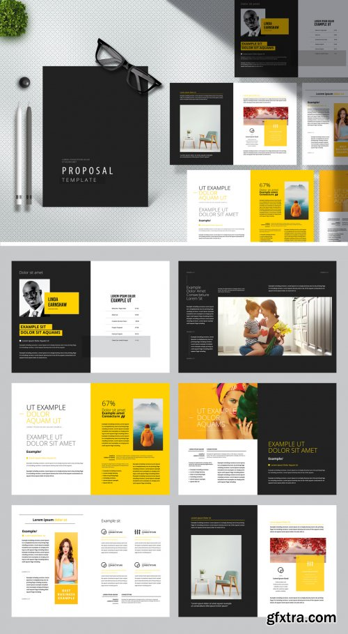 Minimal Creative Proposal Layout with Yellow and Black Accents 380375469