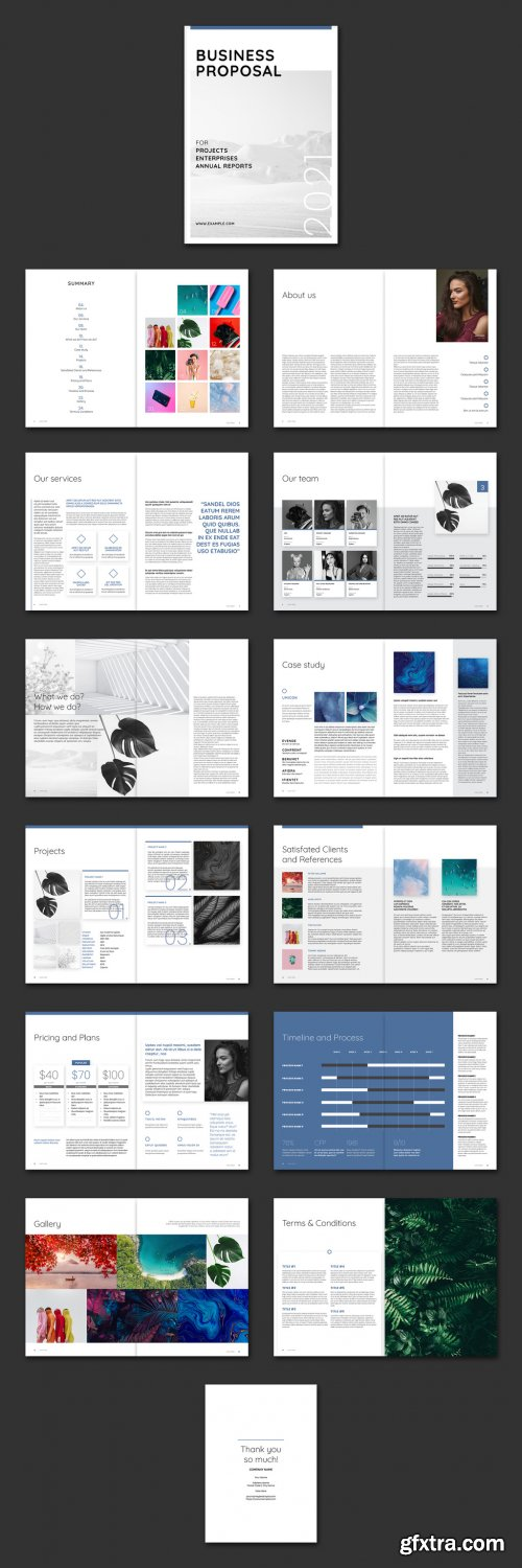 Business Proposal Layout with Blue Accents 381494660