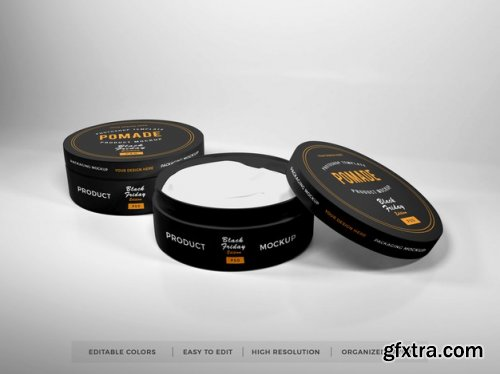 Realistic round box packaging mockup