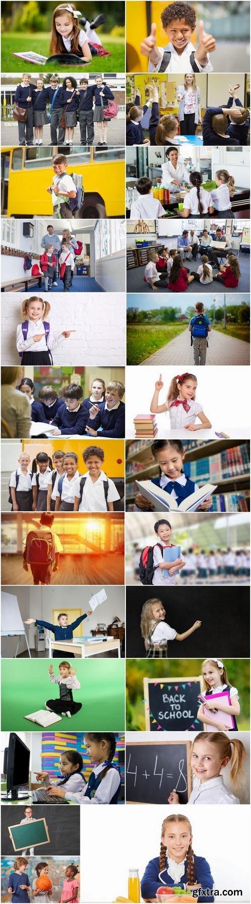 Child children in school uniforms study library class lesson 25 HQ Jpeg