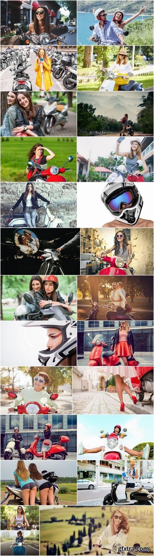 Motor scooter girl woman city urban style helmet 25 HQ Jpeg