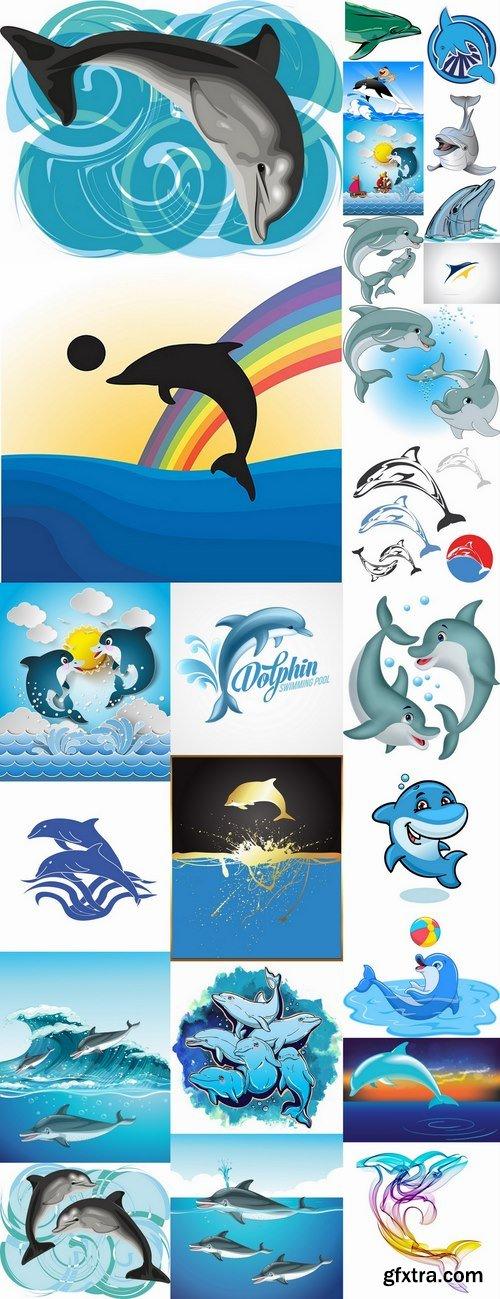 Sea dolphin illustration for children\'s books 25 EPS