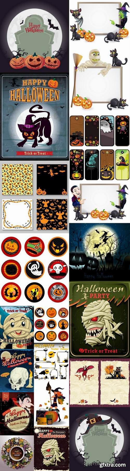 Halloween sticker flyer banner ghost pumpkin Thanksgiving 25 EPS